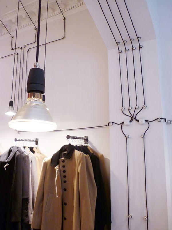 Trang trí tường nhà với dây điện