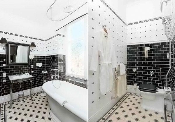 ốp lát nhà vệ sinh bằng gạch men thô.