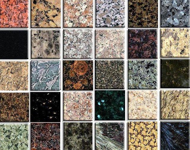 các mẫu đá cẩm thạch trong xây dựng.