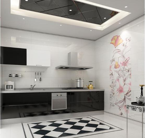 chọn gạch có họa tiết hoa văn đơn giản cho nhà bếp.