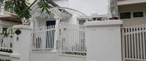 Thi công mái vòm cổng bằng thép sơn trắng tại Sài Đồng – Long Biên
