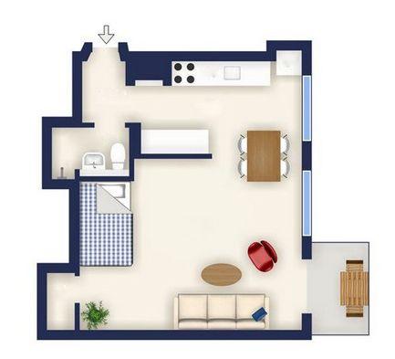 thiết kế nội thất tinh tế cho chung cư 40 m2.