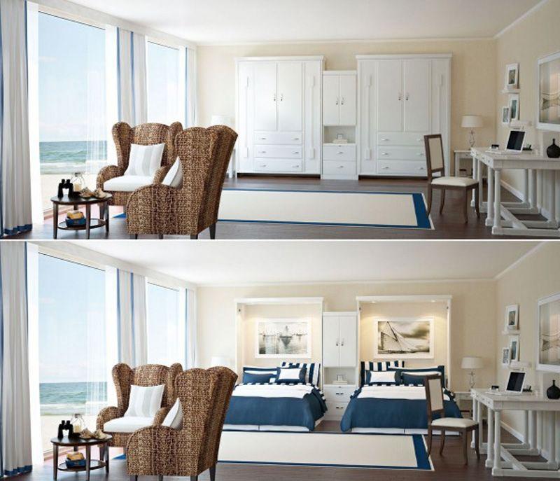 ý tưởng thông minh nới rộng phòng khách, phòng ngủ cho nhà nhỏ